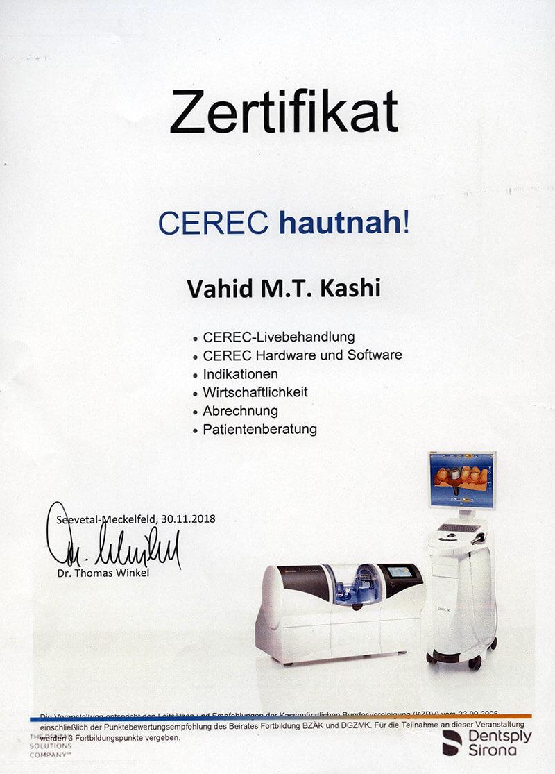 Zerifikat Zahnarzt Kashi